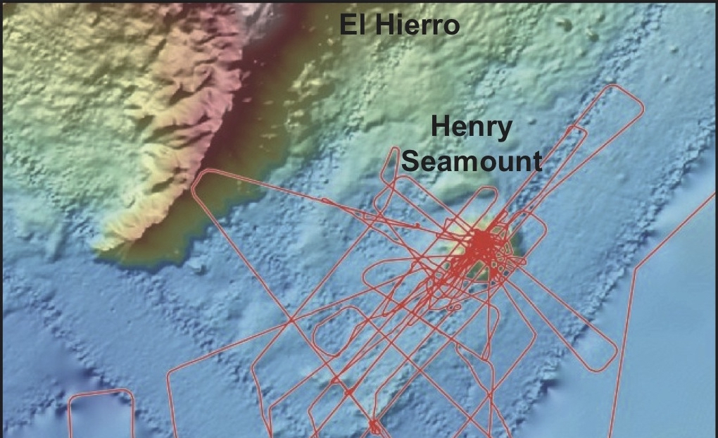 Ship track of Meteor cruise M146 to Henry Seamount, located southeast of El Hierro, Canary Islands